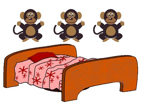 4 little monkeys jumping on the bed bed clipart preschool pencil and in color bed clipart