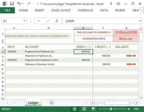 T Accounts Excel Template by T Account Ledger Template For Excel