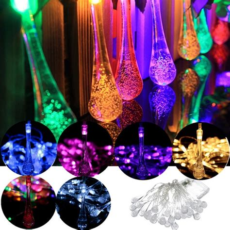 solar powered raindrop string lights 30 led solar powered raindrop fairy string light outdoor