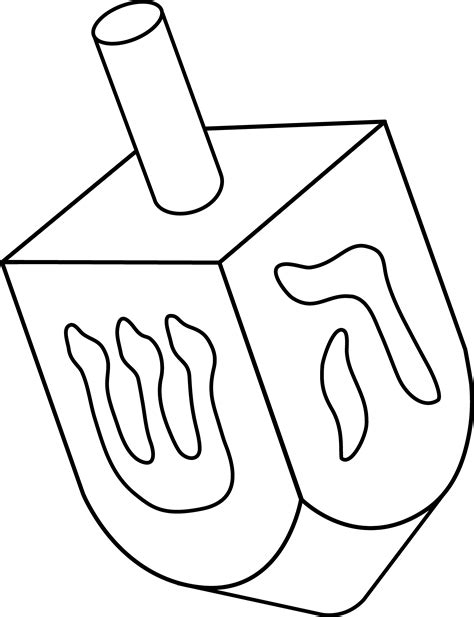hanukkah symbols coloring pages dreidel colorable line art free clip art