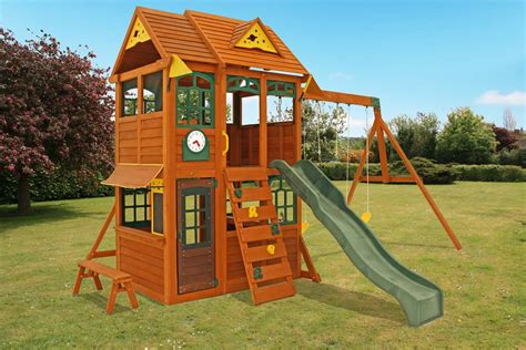 aero swing aero climbing frame large play deck swings slide and
