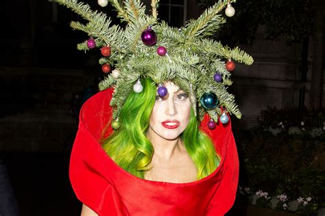 festive lady gaga dresses as a christmas tree page six