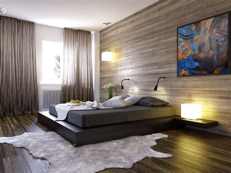 combinar colores paredes dormitorio #1: Artistic-Wall-Painting-and-Wooden-Decorative-Wall-Panels-inside-Wonderful-Bedroom-with-Wide-Platform-Bed.jpg