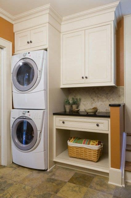 Laundry Room Cabinet Height Stacked Washer And Dryer Option As Like Standard Height Cabinets With Trim And Molding