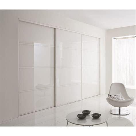 portes coulissantes de placard en verre laqu 233 blanc