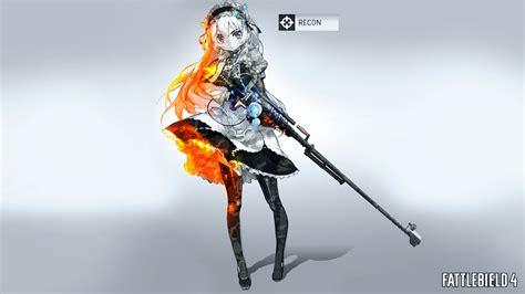 google bf3 wallpaper girl anime girls anime sniper rifle battlefield