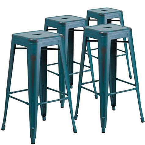 24 quot high backless distressed green blue metal indoor blue bar stools bar stools