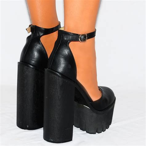 black cleated platforms high heels shoes ankle shoes