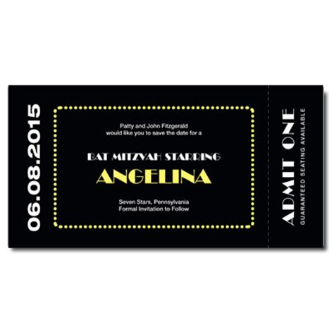 Broadway Tickets Gift Card - broadway ticket save the date card with magnet broadway ticket save the date card