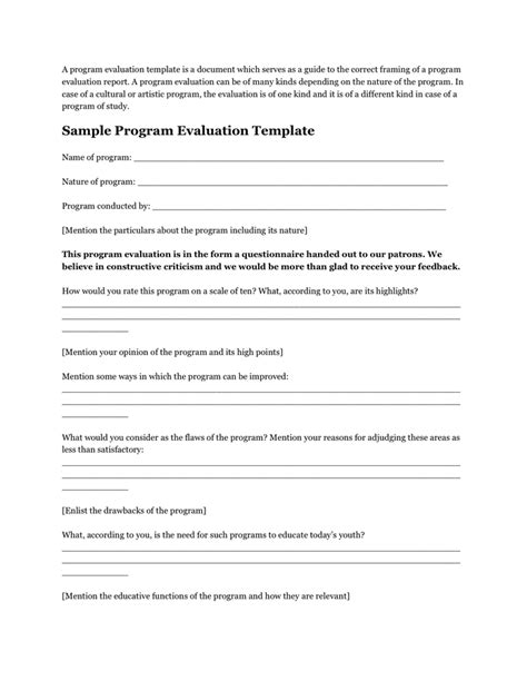 program evaluation form template sle program evaluation template in word and pdf formats