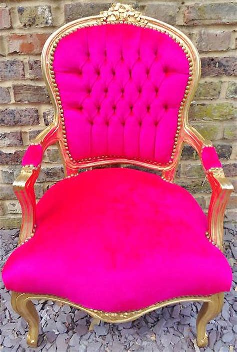 hot pink armchair hot pink ant gold trim chair room pinterest chairs