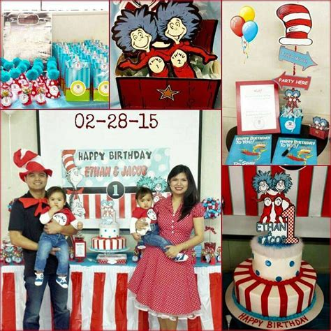 birthday themes for boy and girl dr seuss thing 1 thing 2 twin boys first birthday party