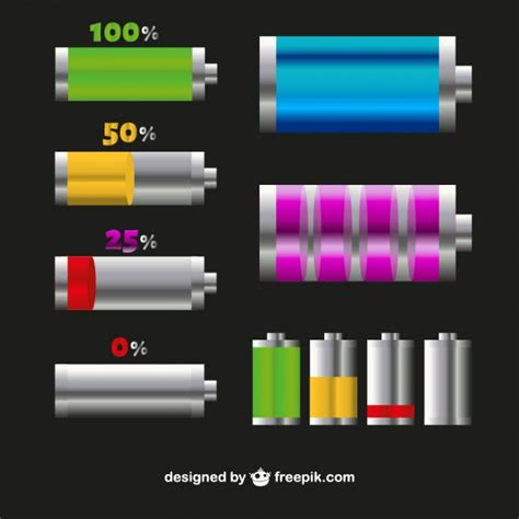 battery level icons in different colors vector free