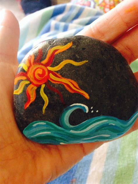 acrylic painting rocks sun and waves painted sea rock varnishes san diego