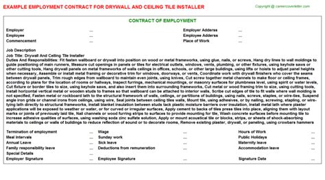 drywall mechanics employment and agreement contracts