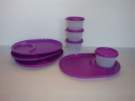 Tupperware Purple tupperware snackatizer plate trays snack cups set of 4