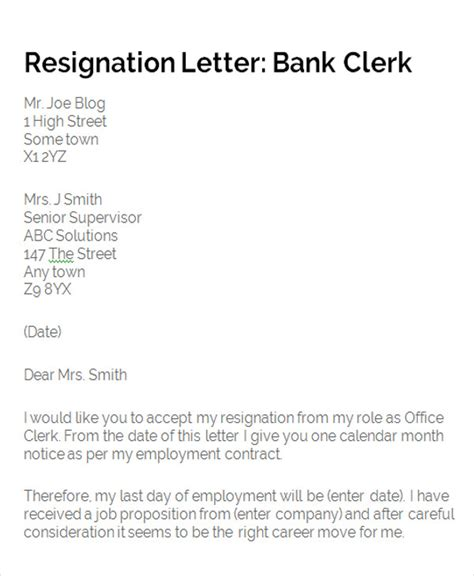 Bank Letter Of Resignation 65 Sle Resignation Letters