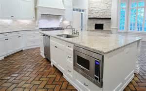 Kitchen with brick floor transitional kitchen cr home design