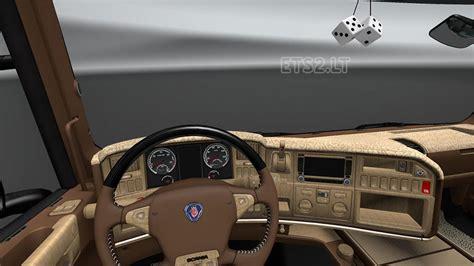 interior interior scania rjl t brown interior v8 ets 2 mods