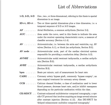 List Of Abbreviations In Master Thesis Abbreviated Business Plan Template