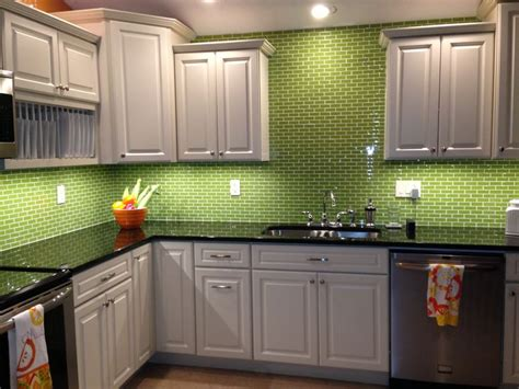 Lime Green Glass Subway Tile Backsplash Kitchen Kitchen