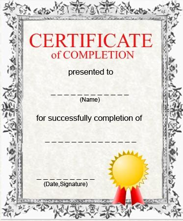 certification of completion template certificates of completion certificate templates