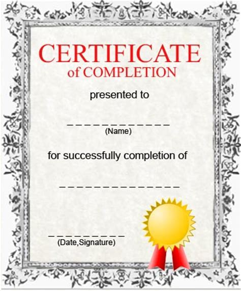 Certificate Of Completion Template Free Free Printable Certificate Of Completion Template