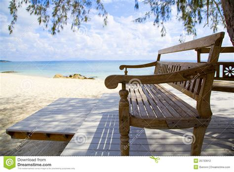 bench beach wooden beach bench and the sea stock photography image