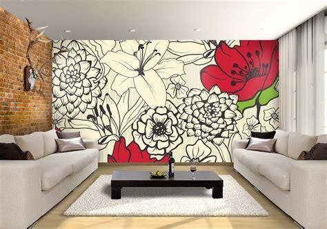 Lukisan Wall Painting Wall Decor Hiasan Dinding 1 flowers custom wallpaper mural print by jw