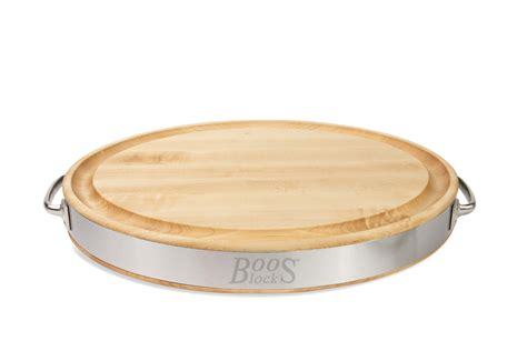Maple Countertops Kitchen by Boos Oval Edge Grain Board W Stainless Steel Band