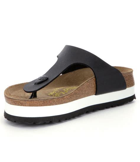 platform birkenstock sandals birkenstock gizeh s platform sandals in black lyst