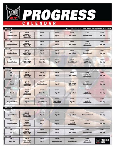 tapout xt workout schedule tapout xt workout calendar