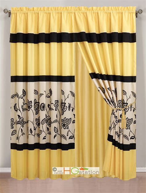 ivory and black curtains 4 pc flocking floral garden curtain set yellow black ivory