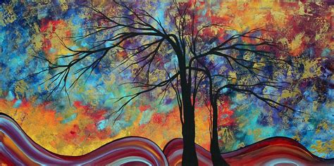 painting inspiration abstract landscape tree art colorful gold textured