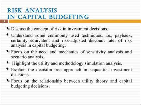Capital Budgeting Ppt Mba Notes by 1 Risk Analysis In Capital Budgeting