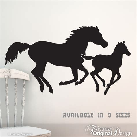 galloping horses vinyl wall art mare and foal horse by twistmo