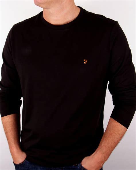 Fahara Longsleeve farah vintage denny logo t shirt black cotton mens crew neck