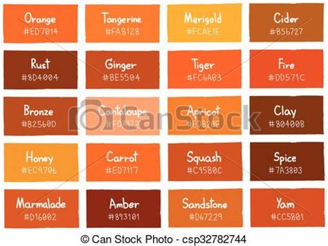 orange shades names vecteur eps de code tonalit 233 ombre couleur fond