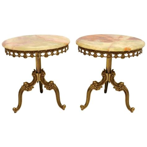 Vintage Brass Table L by Pair Of Antique Brass And Onyx Tables At 1stdibs