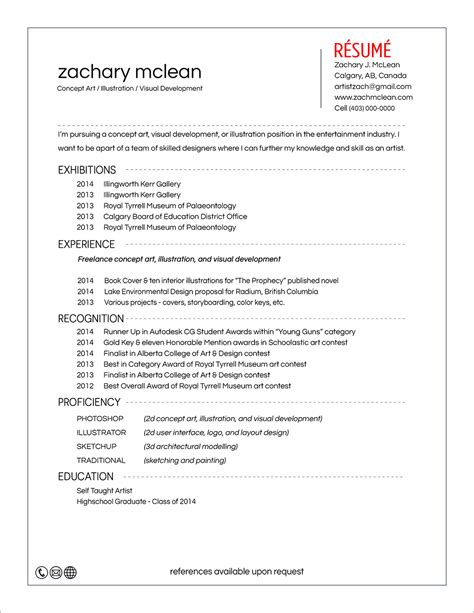 Artist Sle Resume by Concept Artist Resumes 28 Images Concept Artist Resume