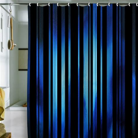 Blue Shower Curtains Madart Inc Black Stripes Blue Shower Curtain