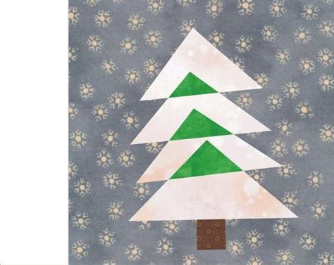 christmas tree paper pieced christmas tree in july tree 1 paper pieced quilt block pdf pattern etsy
