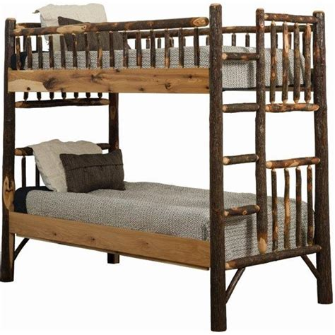 Hickory Bunk Beds Rustic Hickory Log Bunk Bed Set To