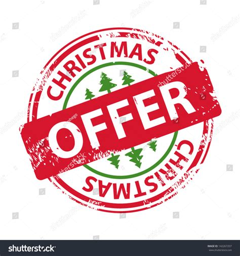 christmas special offers rubber st text offer icon stock vector 142267207