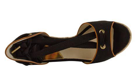 michael kors s lilah wedge canvas shoes ebay