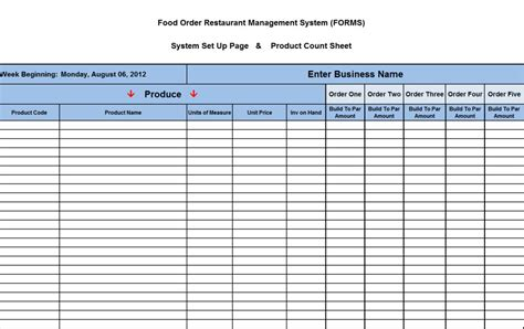 food inventory template food inventory spreadsheet related keywords food