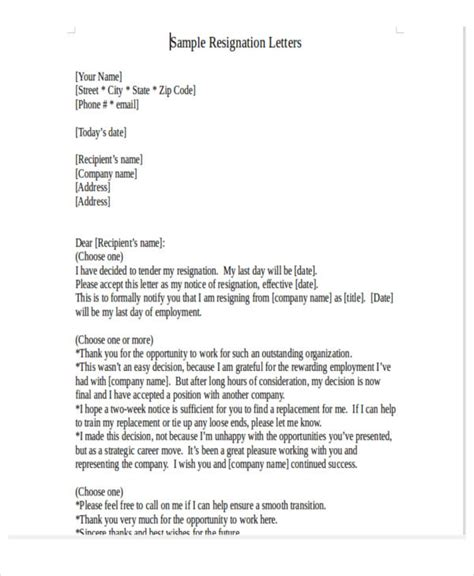 Resignation Letter Due To Reasons by 32 Resignation Letters In Pdf Free Premium Templates
