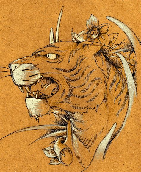 Traditional Japanese Drawings Traditional Japanese Tiger By Miketooch On Deviantart
