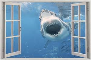 huge 3d window view shark attack wall sticker film mural wall murals shark