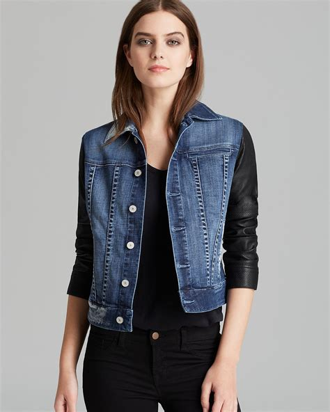 design lab jean jacket sold design lab jacket denim and perforated leather